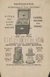Advert for the Atmospheric Churn Company, refrigerators, reverse side